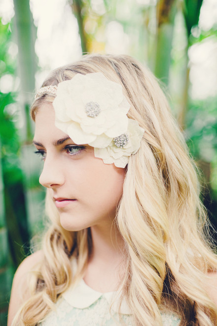 Vanilla Silk Rose Hair Clip Large
