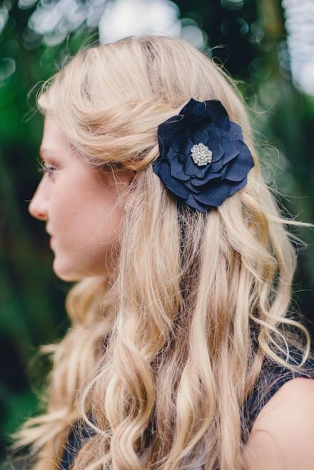 Black Silk Hair Clip Large
