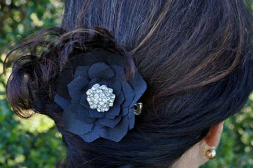 Black Silk Rose Hair Clip Small