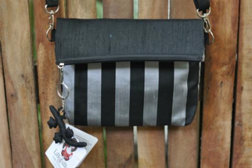 Black and Silver Striped Silk Handbag