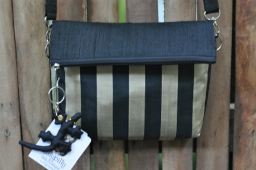 Black and Gold Striped Silk Handbag