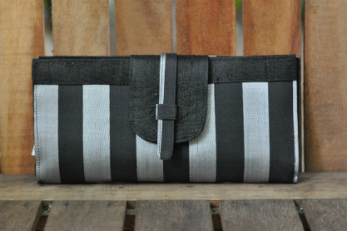 Black and silver striped silk wallet