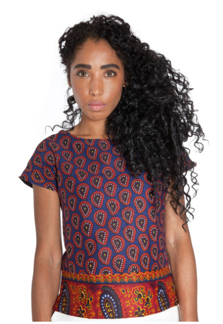 Mayamiko contrast paisley top