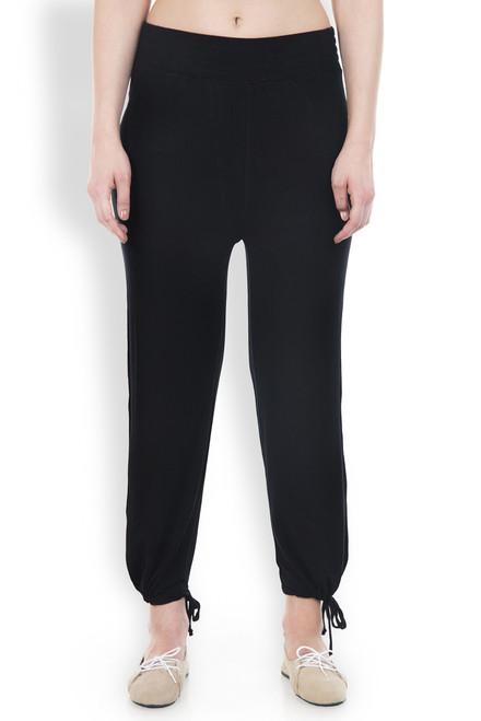 Black Organic Cotton Yoga Pants Do You Speak Green front view