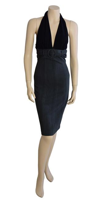 Sheike Grey Pin Stripe Halterneck Dress