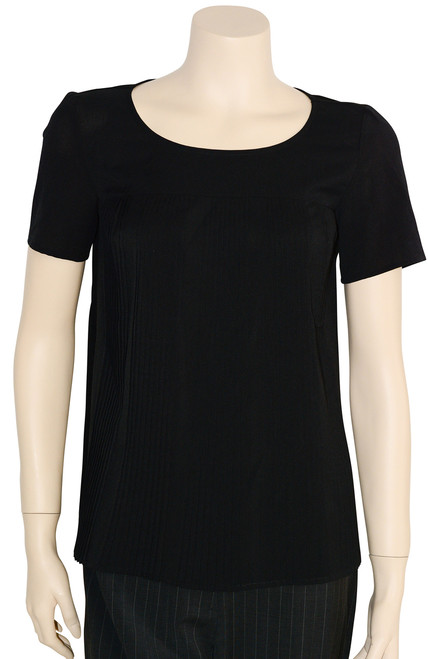 French Connection Black Pleated Short Sleeve Top