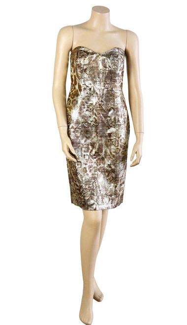 Badgley Mischka Gold Strapless Dress