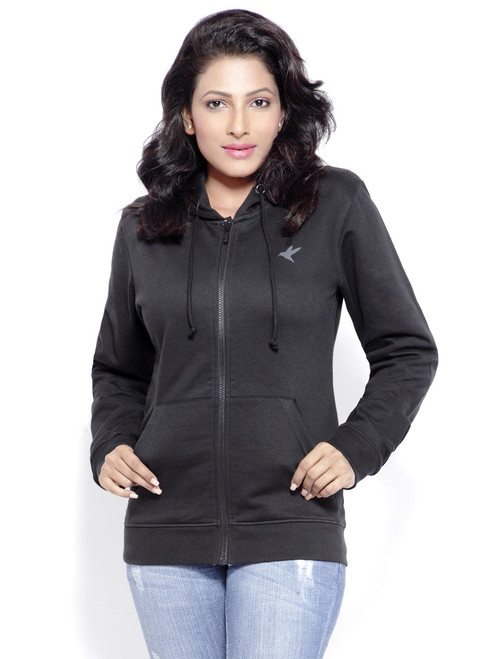 Black organic cotton hoodie