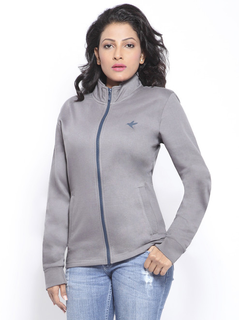 Organic cotton grey fleece jacket