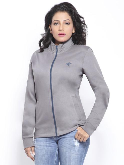 Organic cotton grey fleece jacket
