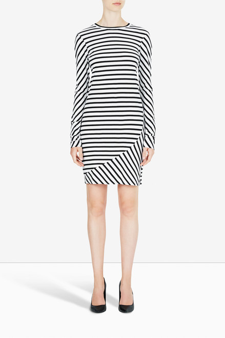 Bon Label Black and White Striped Organic Cotton Dress