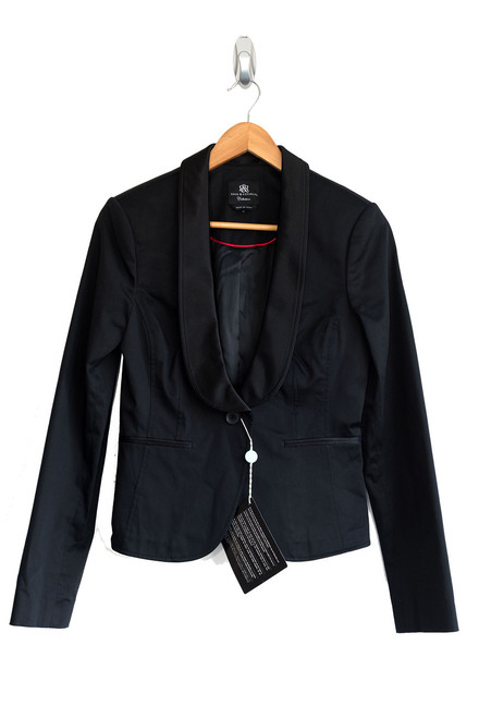 Rock & Republic Black Satin Trimmed Jacket