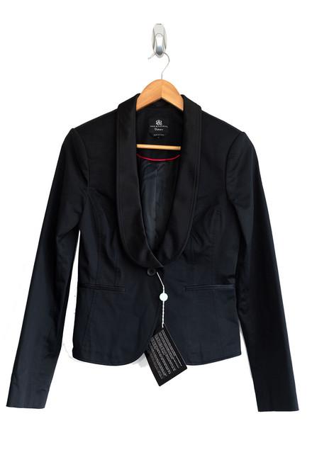 Rock & Republic Black Satin Trimmed Jacket