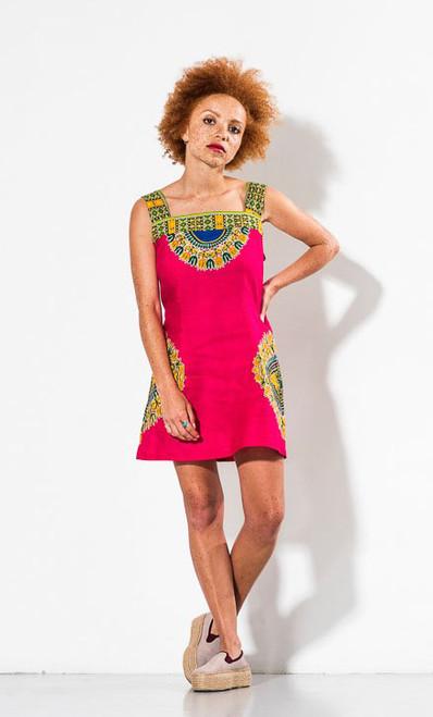 Mayamiko Lily Hot Pink Cotton Mini Dress Fairtrade
