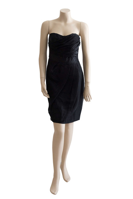 Wayne Cooper Silk Blend Strapless Cocktail Dress