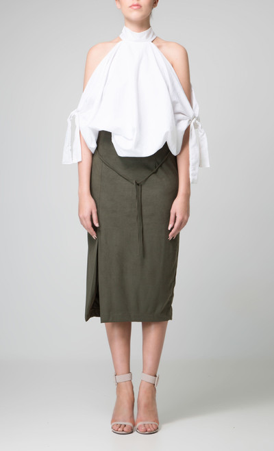 Indecisive Faux Suede Olive Khaki Skirt