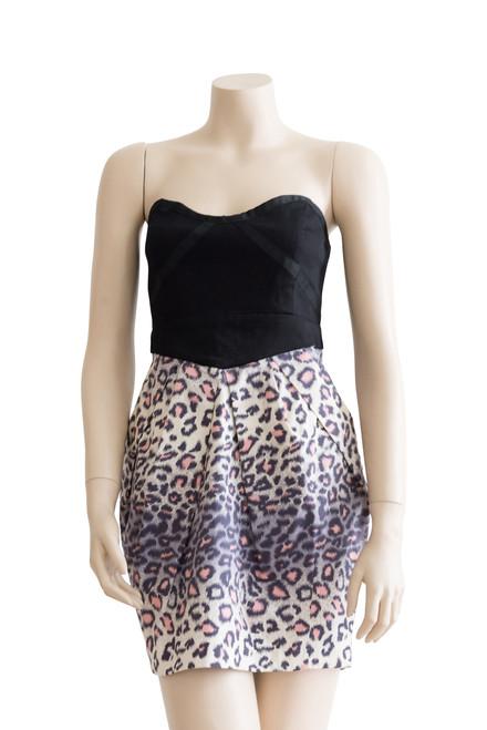 Sheike Animal Print and Black Strapless Dress Close Up