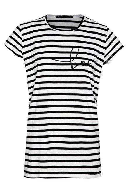 Bon Label Black and White Striped Organic Cotton Tee