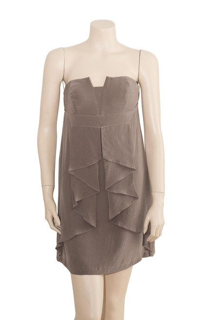 Honey and Beau Taupe Strapless Silk Dress Preloved