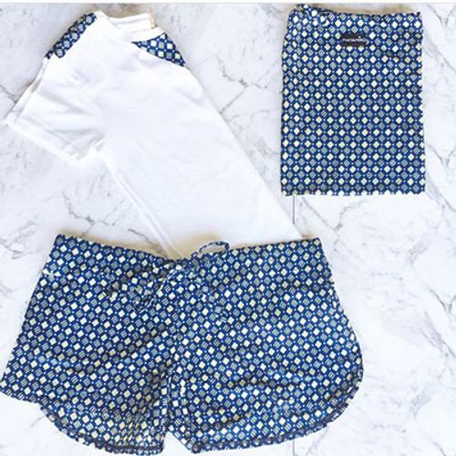 Mayamiko Blue and White Organic Cotton Lounge Yoga Set Shorts and Tee