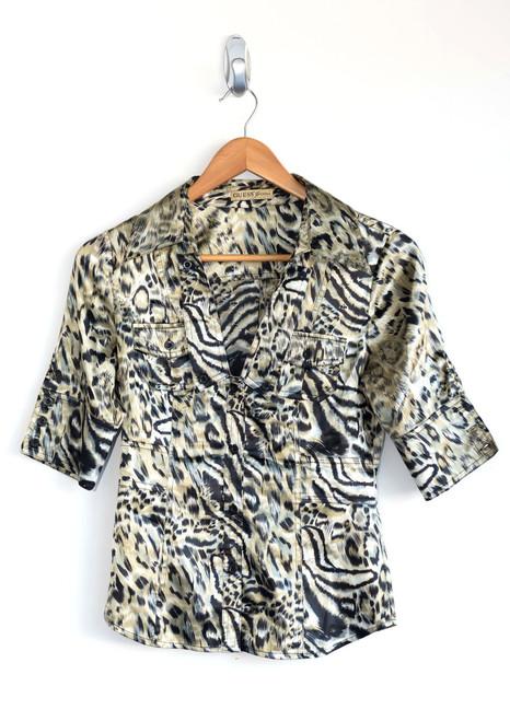Guess Satin Animal Print Shirt