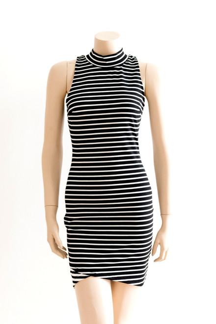 Staple Black and White Striped Body Con Dress New - Size XS