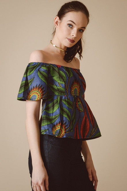 Mayamiko Bardot Off Shoulder Top in Blue Pandora