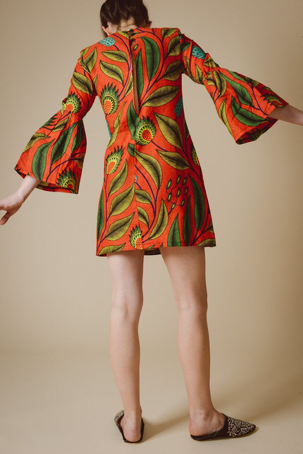 38693bd9b00c7 Mayamiko Christina Bell Sleeve Mini Dress in Red Pandora Fair Trade ...