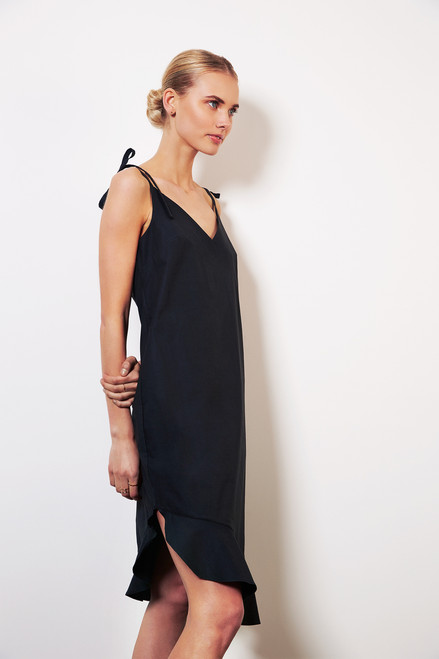 Navy blue summer dress in upcycled fabric  ed707eea2