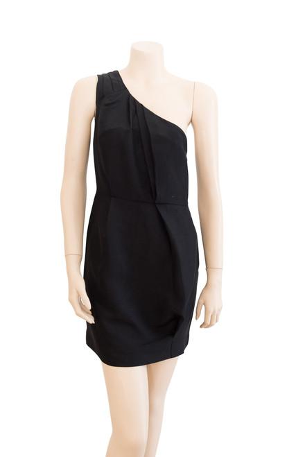 Country Road One Shoulder Black Silk Blend Dress Preloved