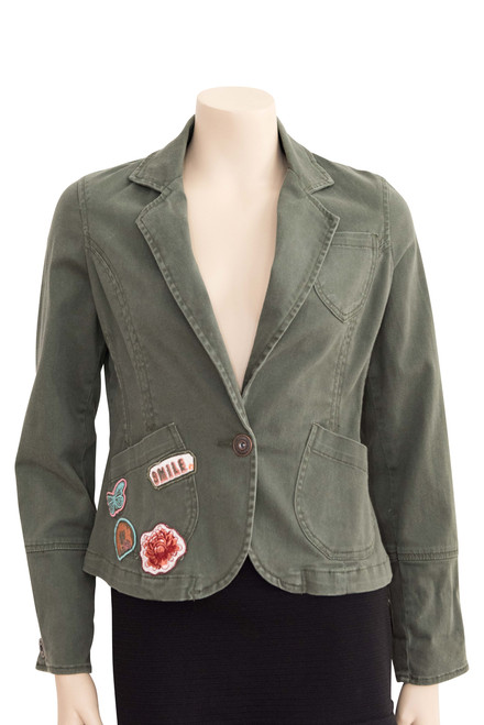 Tara Khaki Blazer Style Jacket Preloved