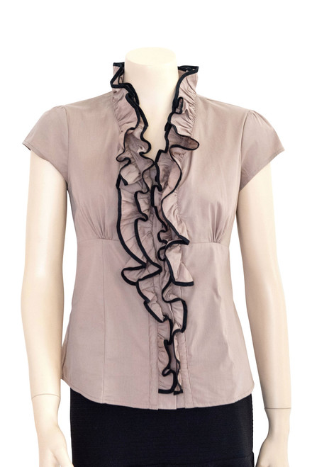 Amisu Taupe and Black Ruffle Front Shirt Preloved
