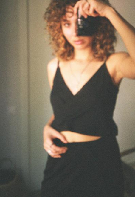 Cossac Black Crop Top in Upcycled Fabric