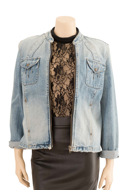 Jeans West Light Blue Distressed Denim Jacket Preloved