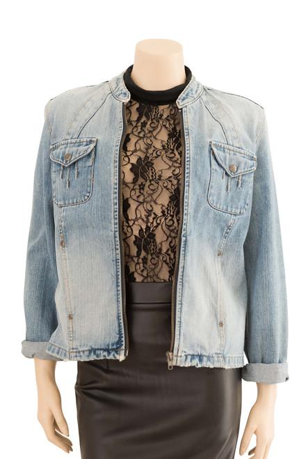 Jeans West Light Blue Distressed Denim Jacket Preloved