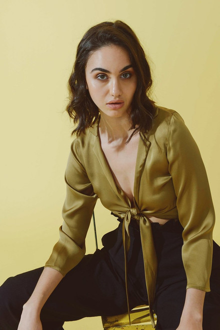 Mayamiko Sara Silk Tie Front Shirt in Champagne Gold