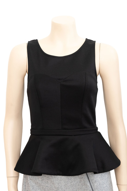T By Bettina Liano Black Peplum Top