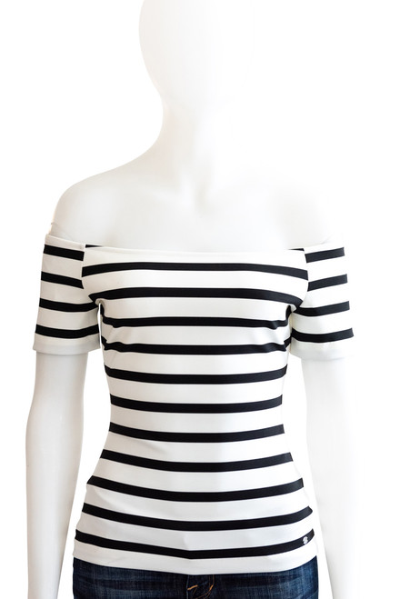 Guess Black & White Striped Off the Shoulder Top