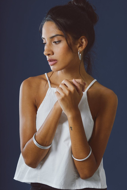 Mayamiko White Organic Cotton Sleeveless Top