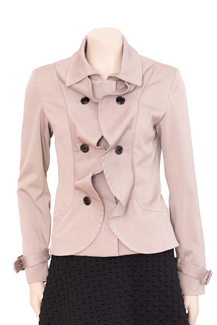 Coco Angelin Taupe Ruffled Jacket