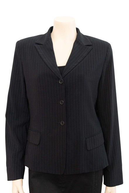 Cue Black and White Pinstripe Blazer Jacket