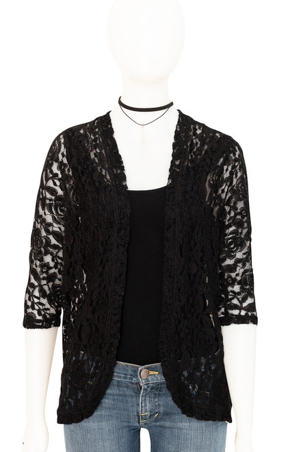 Forever 21 Black Lace Cardigan Second Hand Fashion Online