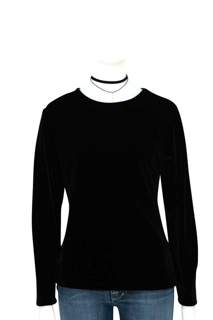 Black Velvet Top with Long Sleeves by Laura Ashley