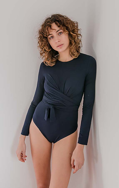 Cossac Navy Blue Wrap Bodysuit In Jersey Tencel