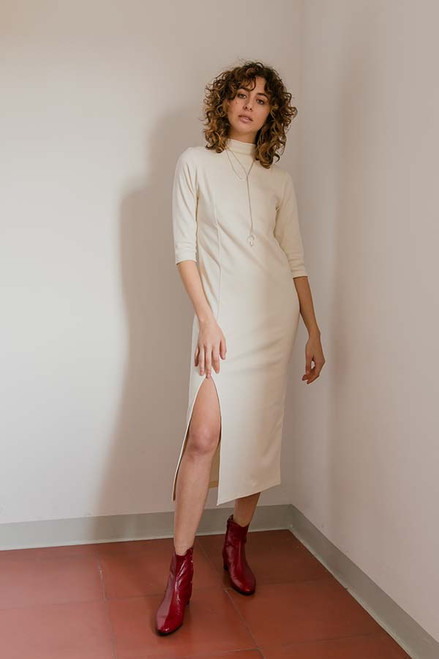 Cossac Half Sleeve Cream Cotton Dress Sustainable Fashion