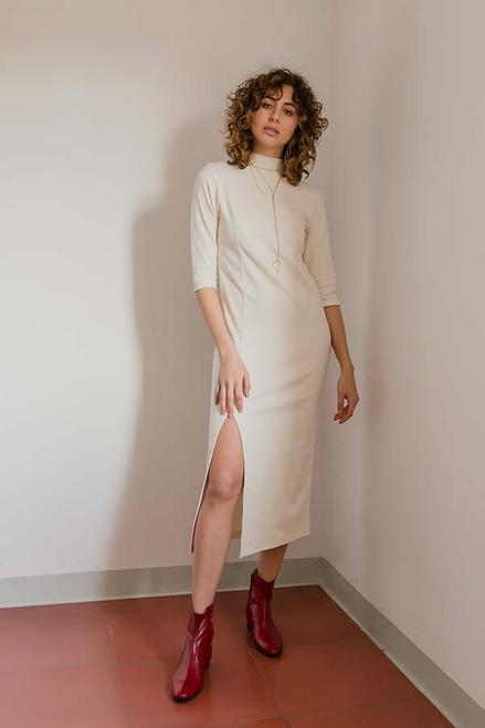 Cossac Half Sleeve Cream Cotton Dress Sustainable Fashion
