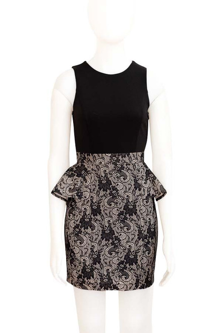 Black lace bodcon dress with peplum frill