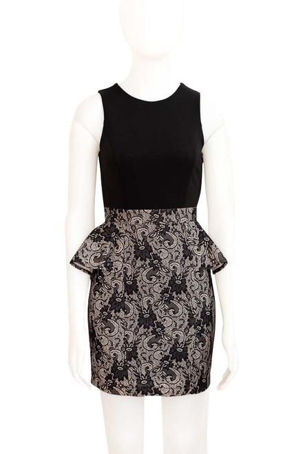 Black lace bodcon dress with peplum frill