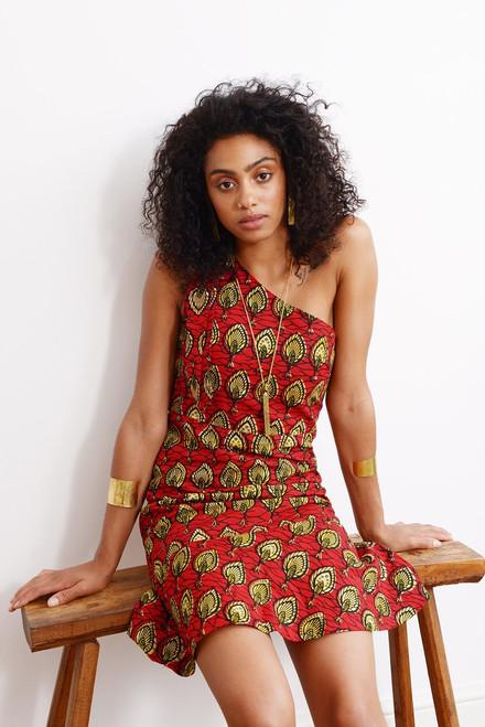 Mayamiko One Shoulder Red Cotton Dress