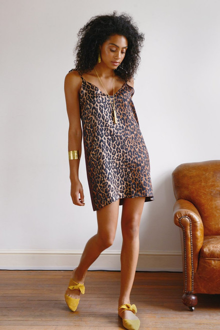 Mayamiko Silk Animal Print Slip Dress